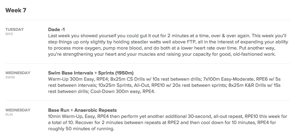 This is a detailed view of daily workouts in a triathlon training plan.
