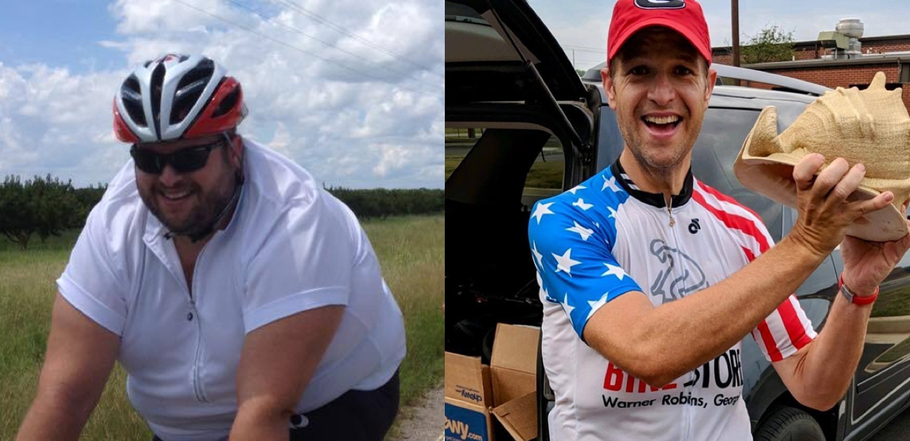 This is a before and after picture of a cyclist that lost 145 pounds