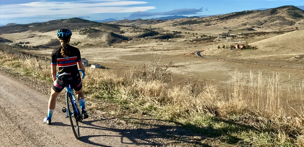Carly Williamson on a ride in the Colorado Landscape