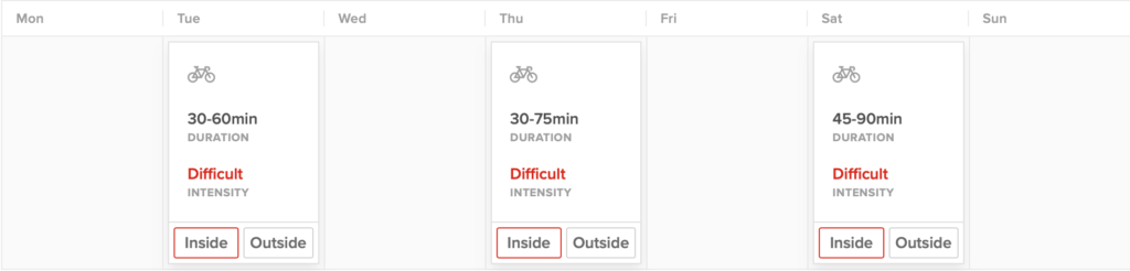 This is a chart of TrainerRoad cycling workouts, leaving Wednesday, Friday, and Sunday free without having to combine strength and cycling training.
