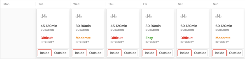 This is a chart of a high-volume TrainerRoad cycling workouts showing the best options to combine strength and cycling training on Wednesday, Friday, or Sunday.