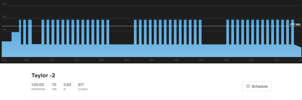 Este é o gráfico de treino para Taylor -2.  É um treino Vo2 Max.