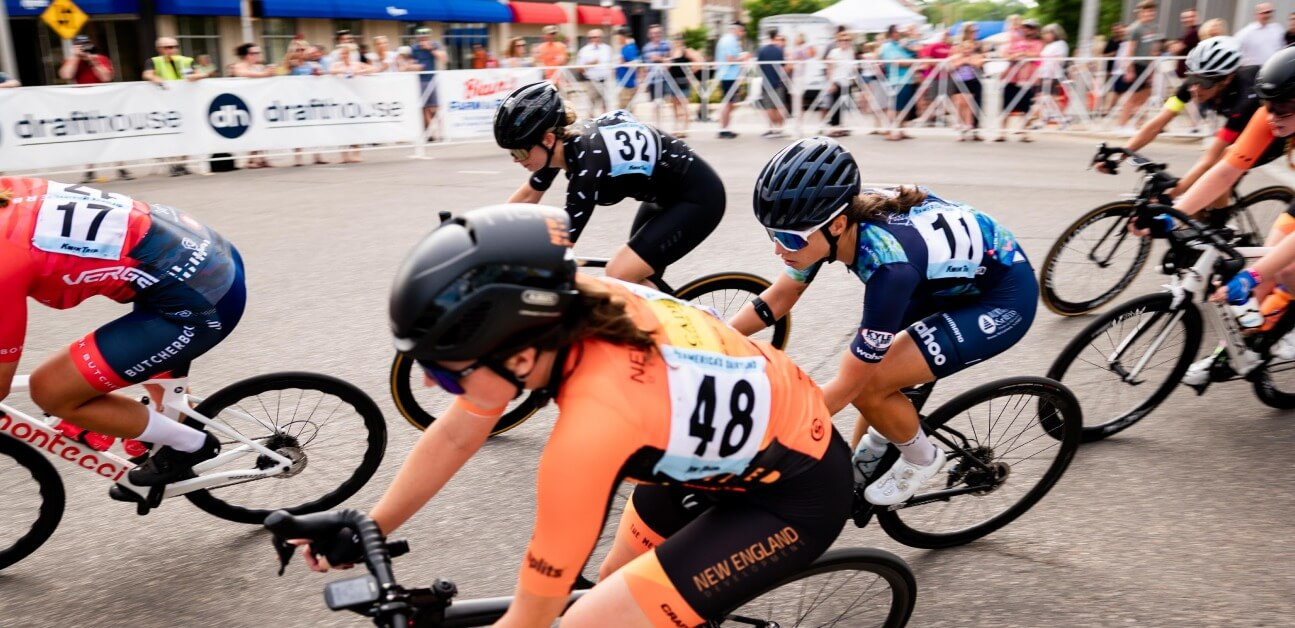 A group of female cyclists during a road race